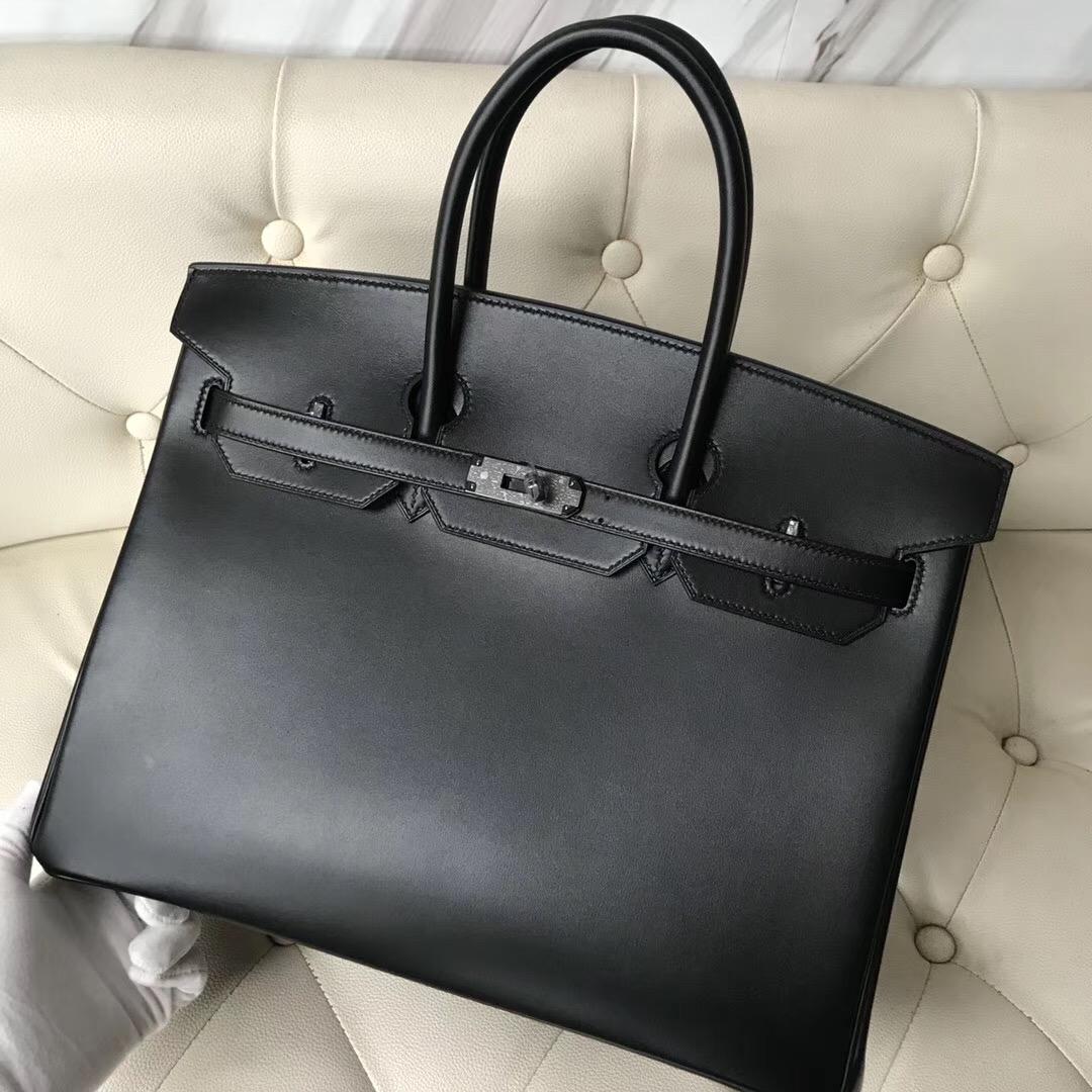 愛馬仕限量版鉑金包官網價格 Hermes Birkin 35cm So black Box CK89黑色 黑扣