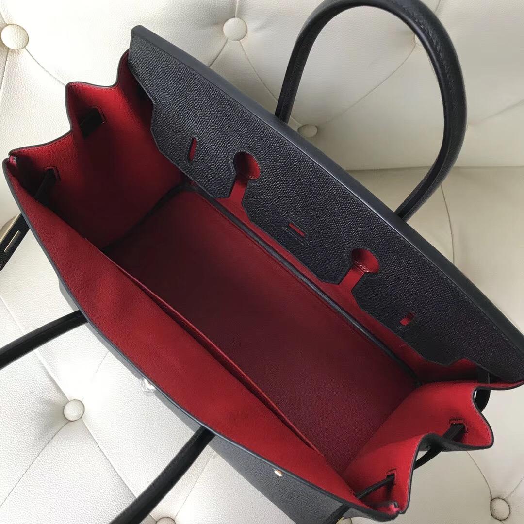 Hong Kong Hermes Birkin 35cm Epsom CK89黑色/Q5國旗紅Rouge Casaque