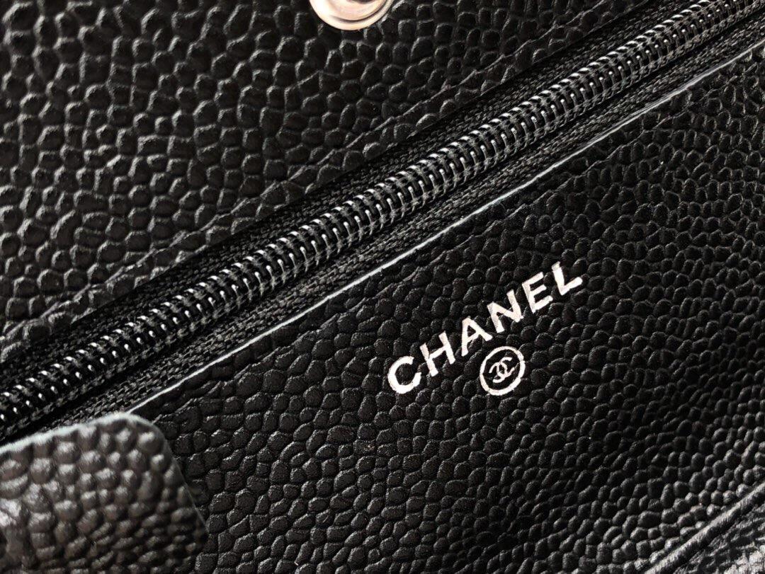 臺灣臺北市 WOC發財包 Chanel Wallet On Chain 魚子醬小牛皮