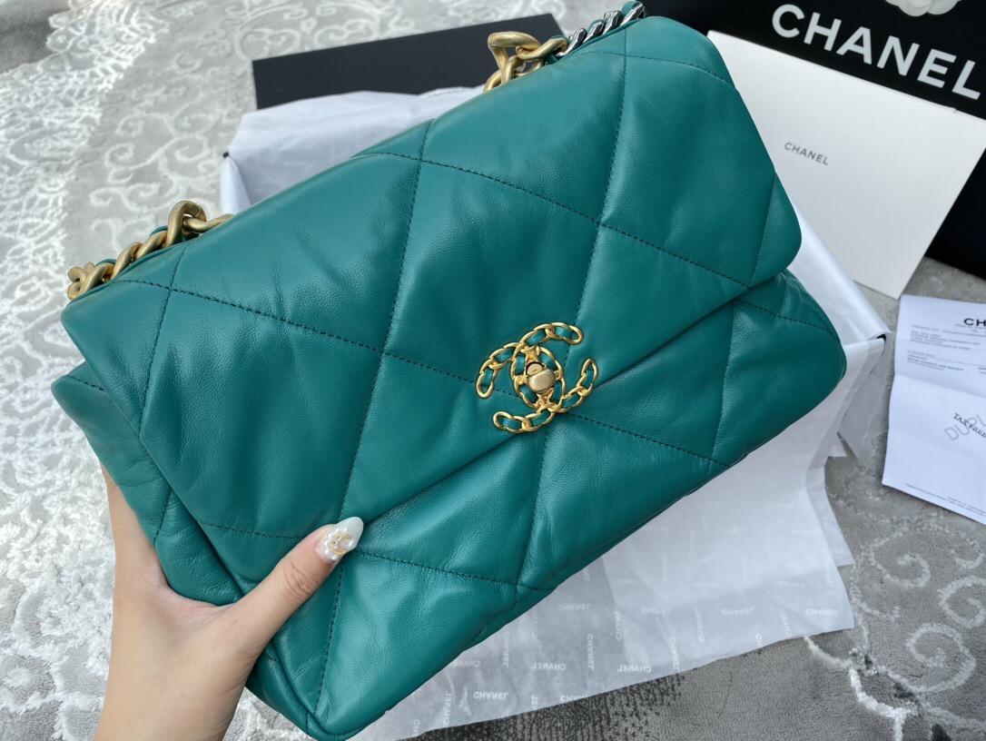 臺灣香奈兒包包價格表官網 CHANEL 19手袋 中號口蓋包 孔雀綠山羊皮