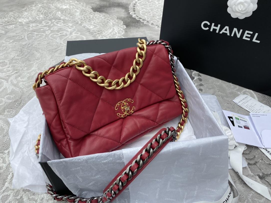 新加坡香奈兒官方旗艦店包 CHANEL 19手袋 中號口蓋包 深粉紅 山羊皮