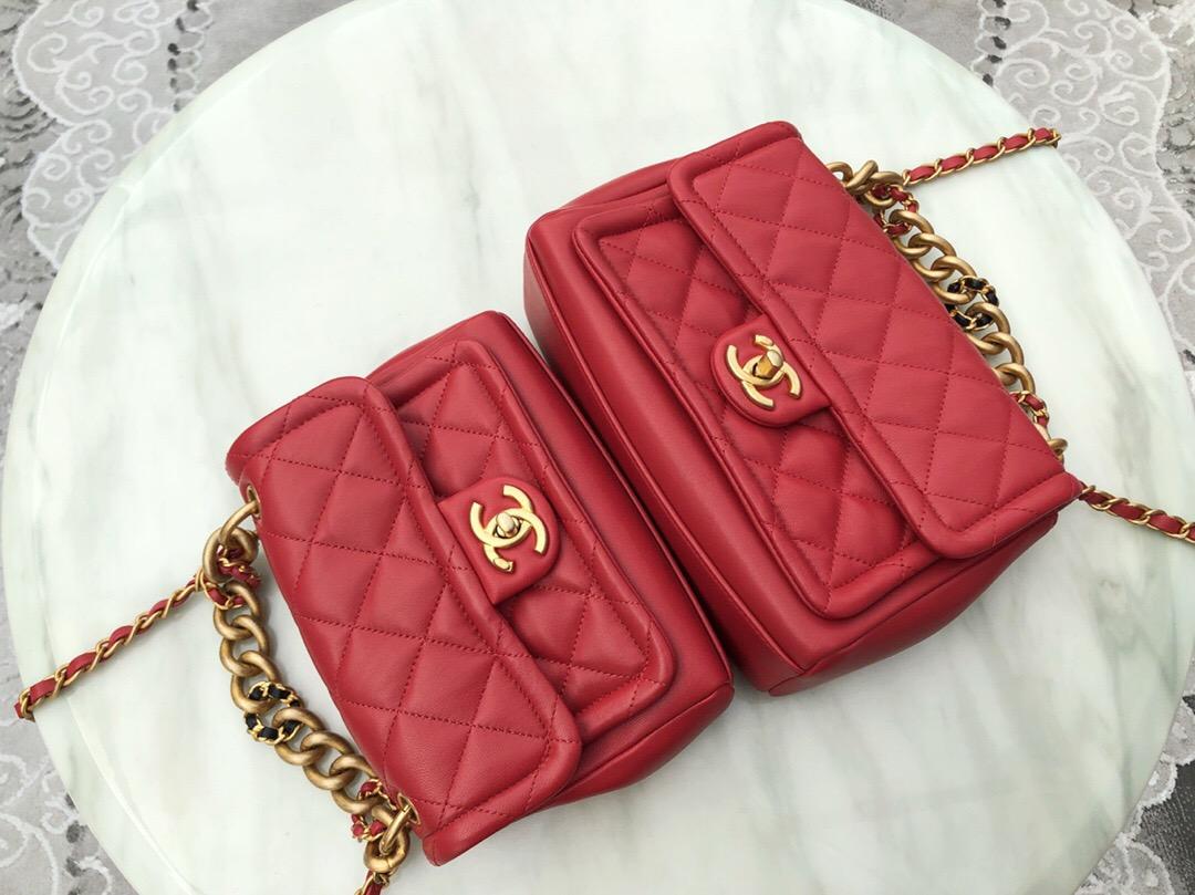 香奈兒經典款包包價格和圖片 口蓋包 紅色 羊皮