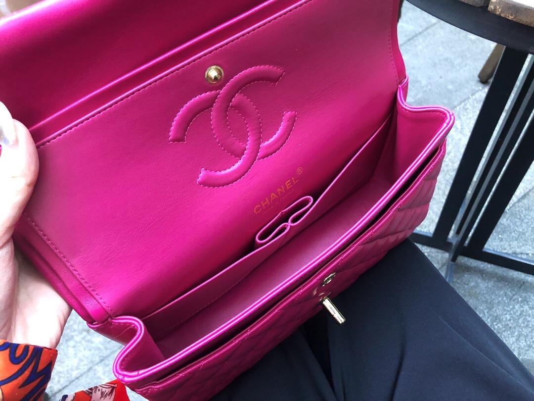 新加坡 臺灣香奈兒官網包包及價格 CF 經典口蓋包 玫紅羊皮