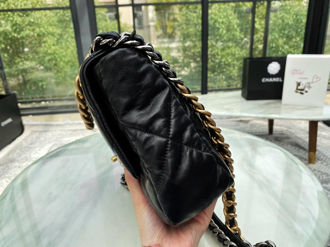 香港 台湾 香奈兒包包 CHANEL 19手袋 中號口蓋包黑色