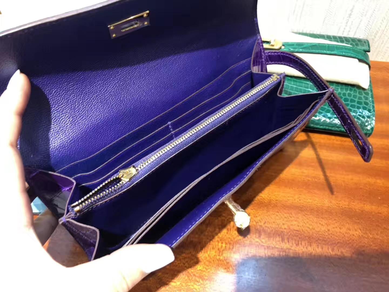 愛馬仕凱莉錢包 Hermes長款錢夾 Kelly Wallet 5L極度紫亮面方塊美洲鱷魚