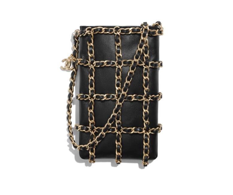 新加坡 香奈兒 鏈條 購物包 黑色 羊皮革與金色金屬