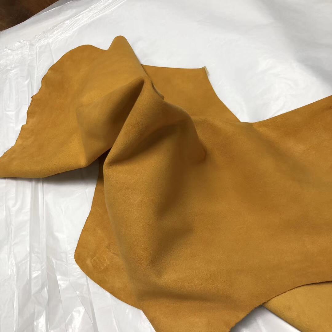 Hermes Lindy Verrou 9D琥珀黄 Amber Doblis Suede 山羊皮 麂皮绒
