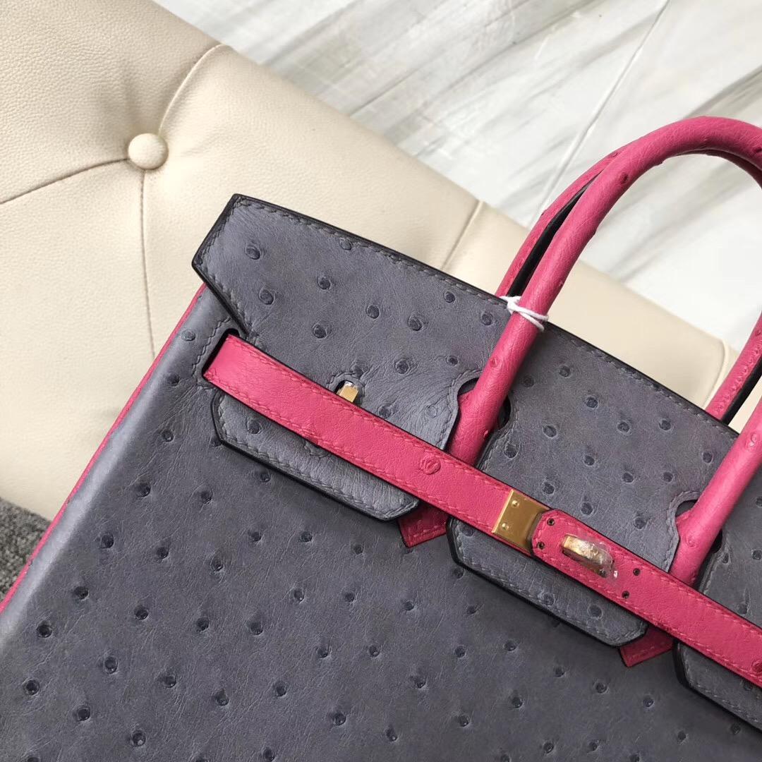 愛馬仕鉑金包價格 Hermes Birkin 25cm Hss 鴕鳥皮ck82瑪瑙灰/L3玫瑰紫