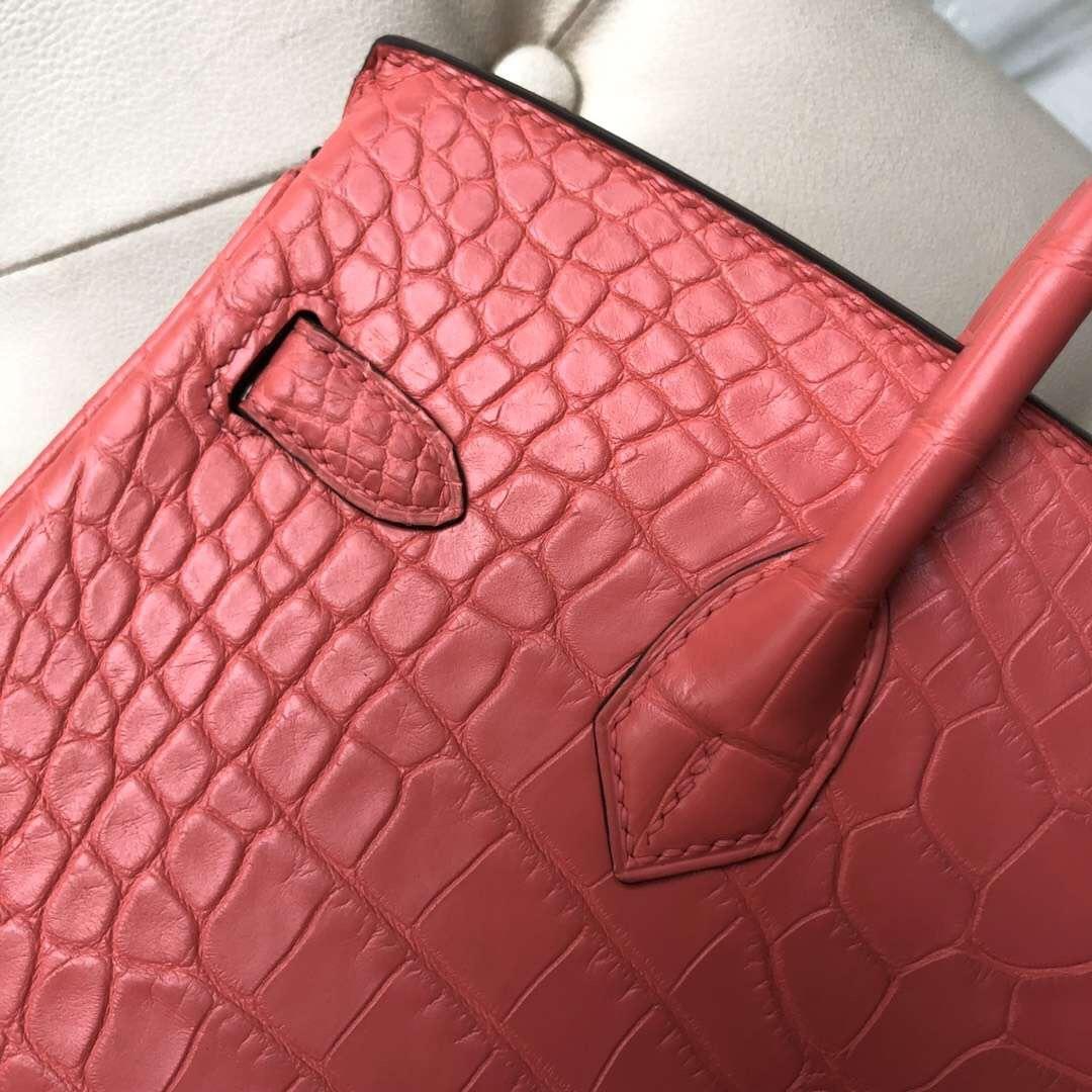 愛馬仕包包臺灣網站 Taiwan Hermes Birkin 25cm 美洲鱷 A5 Bouganinviller 杜鵑紅