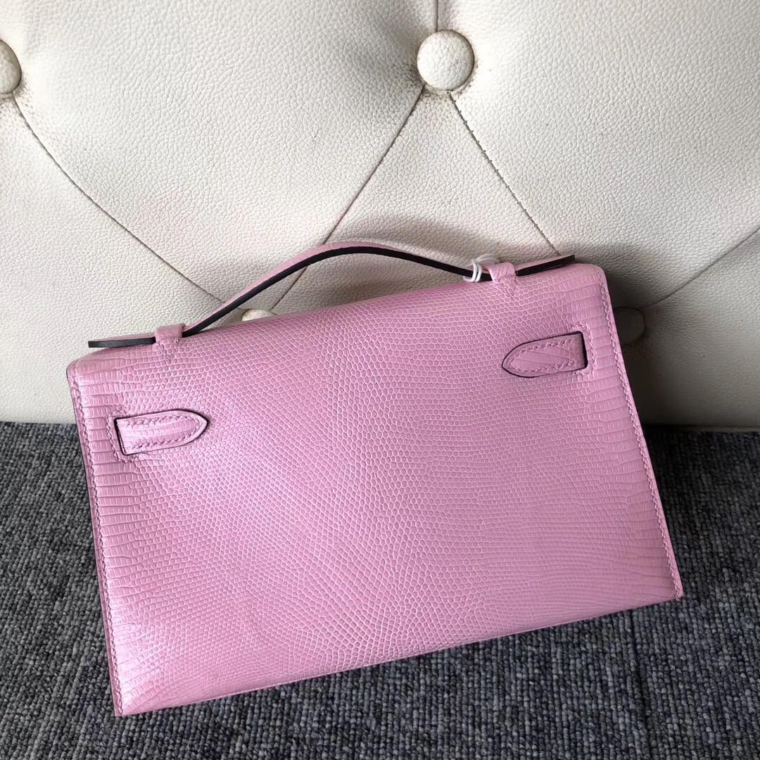 愛馬仕迷妳凱莉包壹代櫻花粉 Hermes MiniKelly pochette 5P Pink櫻花粉Lizard