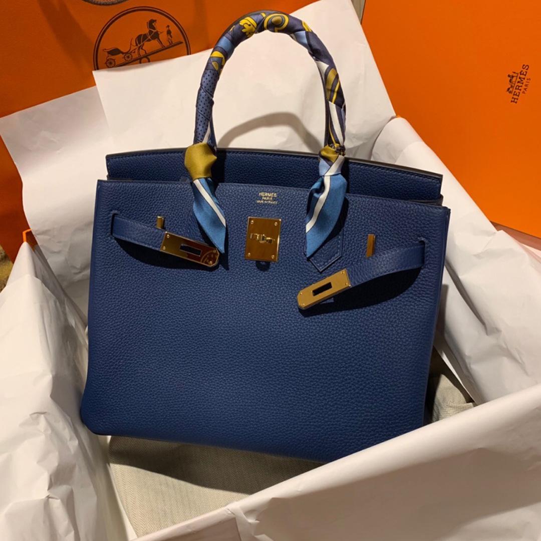 臺中市愛馬仕鉑金包 Hermes Birkin 30cm S4深邃藍 Blue deep Togo皮
