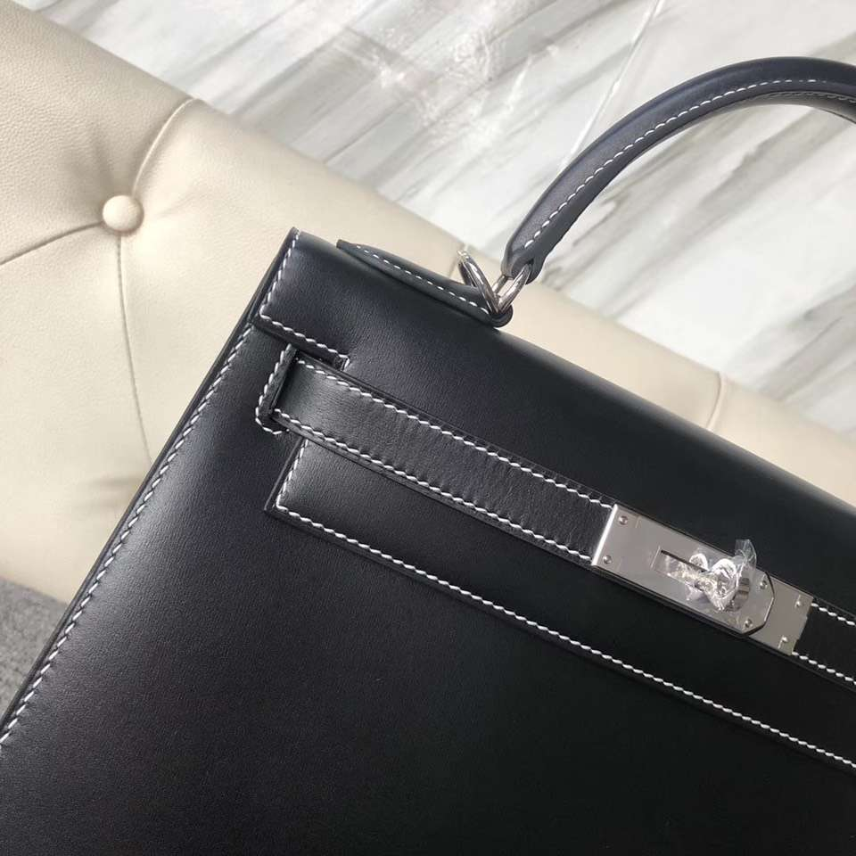 新加坡愛馬仕外縫凱莉包 Singapore Hermes Kelly 25cm Box ck89黑色 白色線