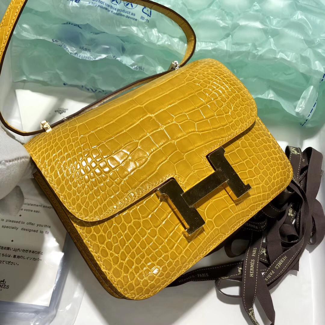 臺灣高雄市 Hermes Constance 19cm HCP鱷魚皮 9D琥珀黃 Amber 美洲鱷魚