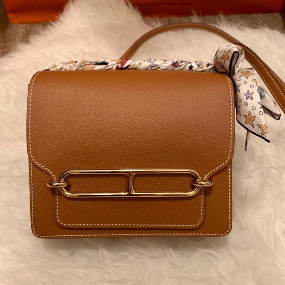香港油尖旺區 愛馬仕豬鼻子包包價格 Hermes Roulis 19cm Everycolor CK37金棕色 Gold