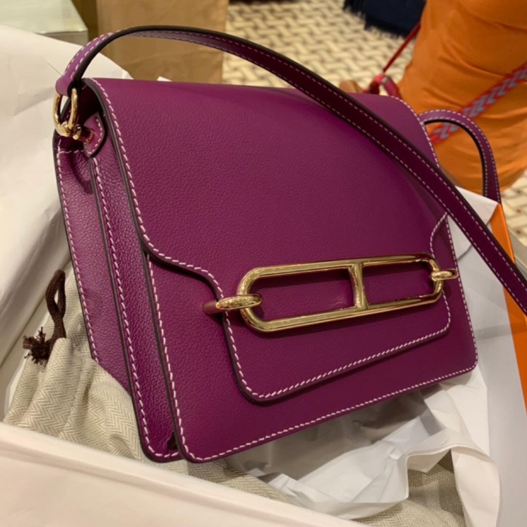 愛馬仕豬鼻子包全球價格 Hermes Roulis 19cm P9 海葵紫 Anemone Everycolor
