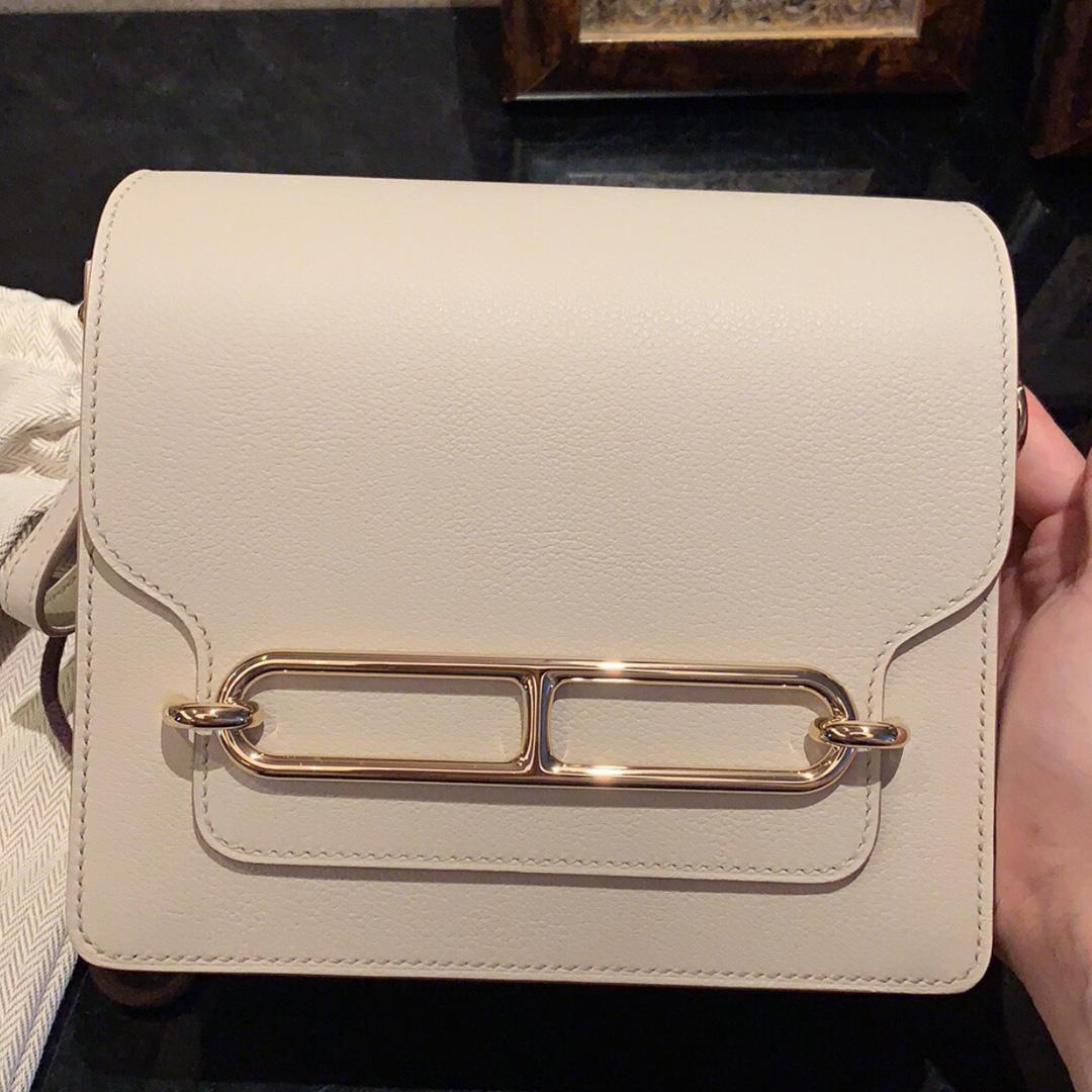 愛馬仕豬鼻子包 臺灣新北市價格 Hermes mini Roulis 19cm 8L奶油白 Beton everycolor