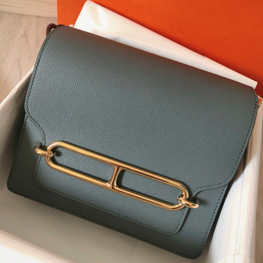 愛馬仕豬鼻子包怎麼打開 Hermes Roulis 19cm CC63杏綠色Vert Amande Everycolor