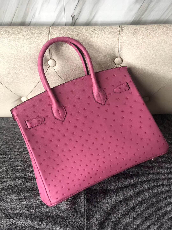 愛馬仕鴕鳥皮鉑金包30 臺灣價格 Hermes Birkin 30cm Ostrich E5桃紅色 Rose Tyrien