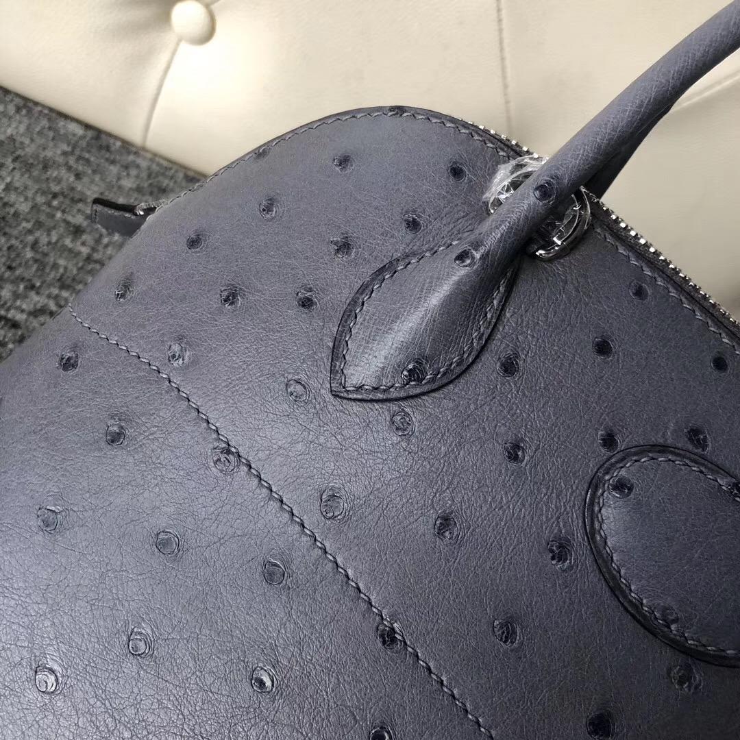 愛馬仕保齡球包 Taiwan Hermes bolide 27cm ostrich CK82瑪瑙灰 gris agate
