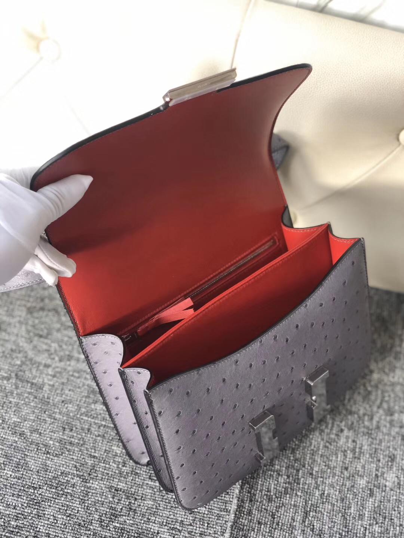 康斯坦空姐包多少錢 Hermes Constance 24cm CK82瑪瑙灰 gris agate內拼大紅色