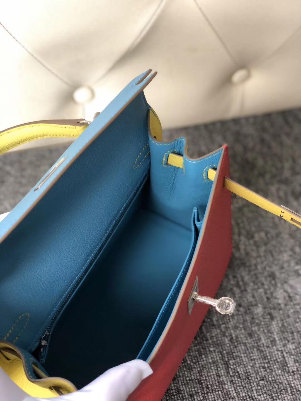 Hong Kong Hermes Kelly 25cm Hss Chevre三拼色 i6極致粉/7n糖果藍/9r檸檬黃