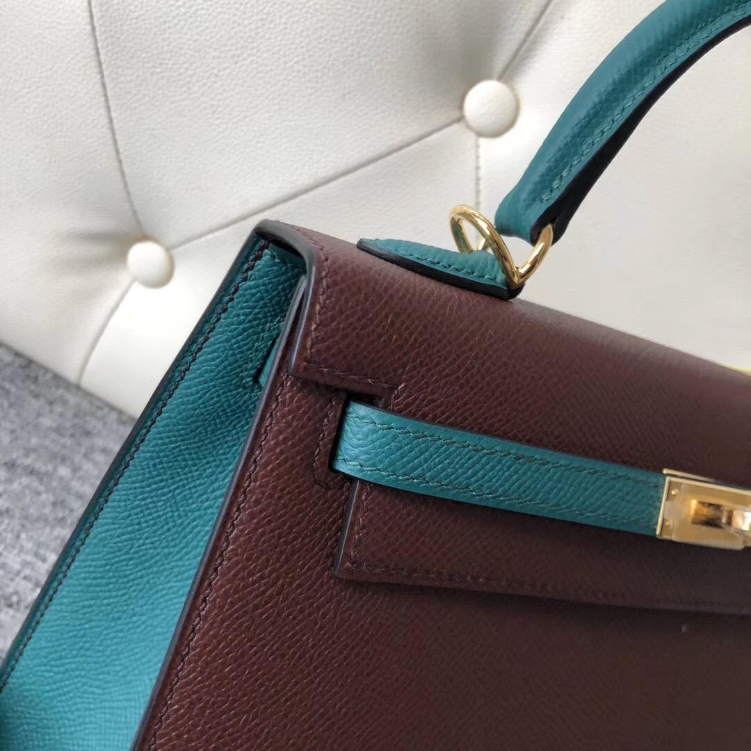 香港外縫拼色凱莉包 Hong Kong Hermes Kelly 25cm Hss ck57波爾多酒紅/7F孔雀藍