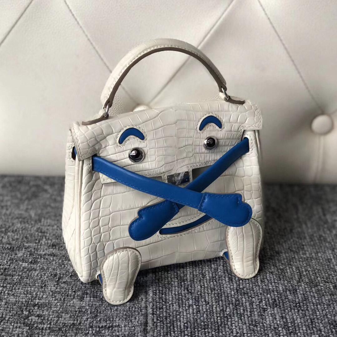 香港沙田區愛馬仕娃娃包 Hong Kong Hermes Kelly doll 美洲鱷8L奶油白 拼 T7水妖藍
