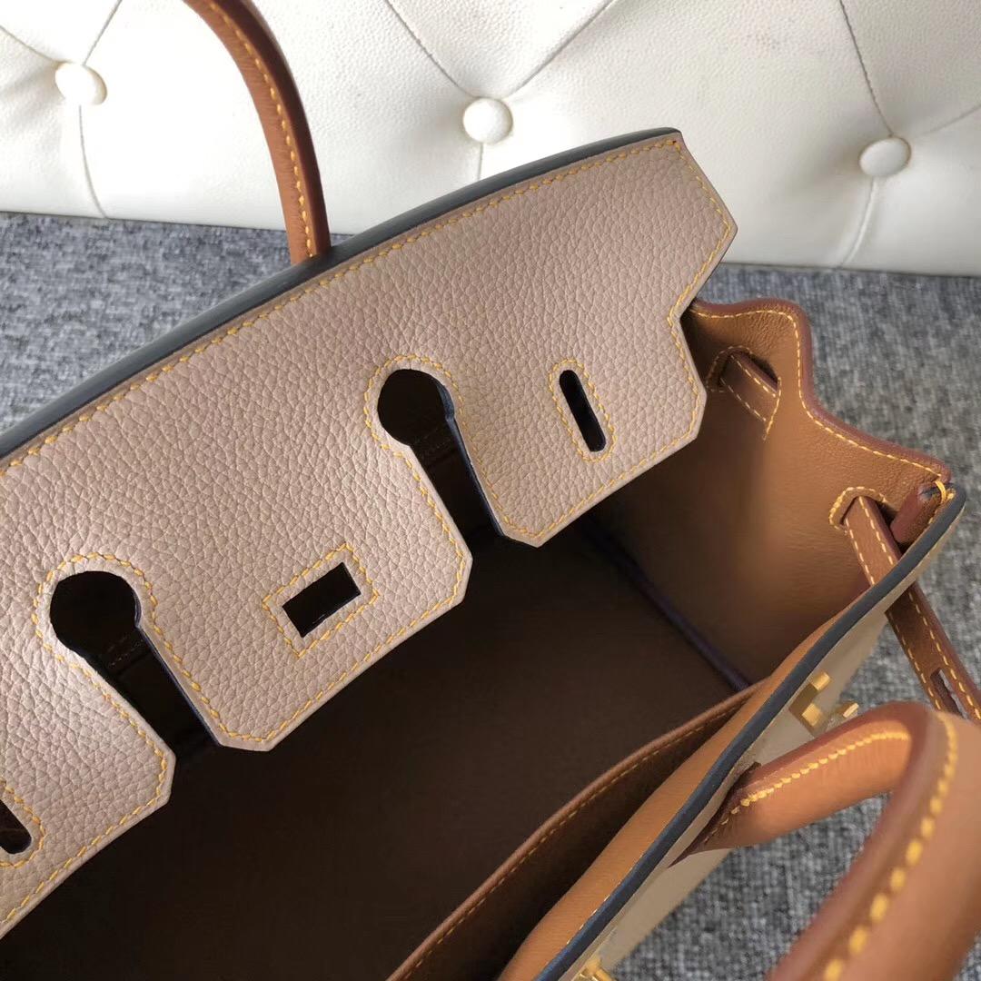 香港觀塘區 大埔區鉑金包 Hermes Birkin 25cm S2風衣灰/CK37金棕色 拉絲金扣