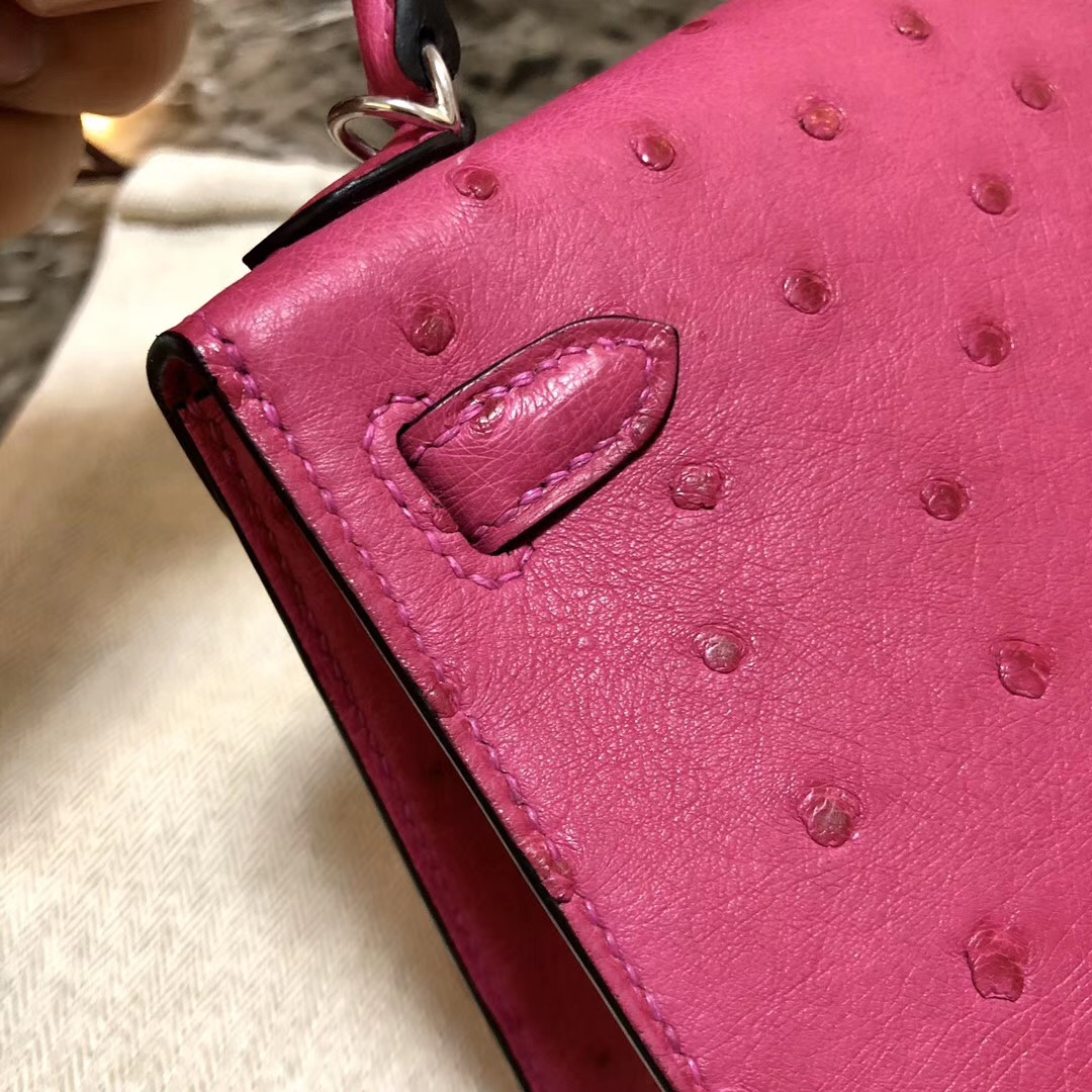 Sydney Australia Hermes Kelly Mini 2代 19cm Ostrich E5 Rose Tyrien 桃紅色
