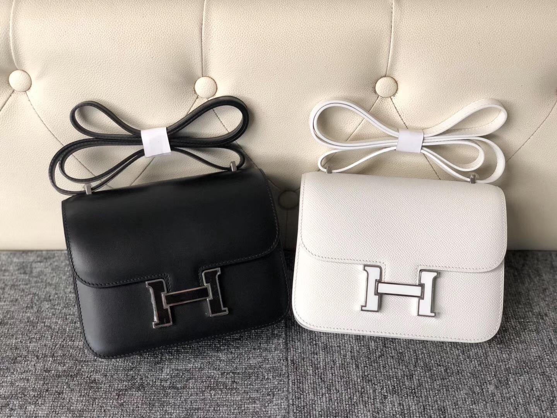 Hermes Constance 19cm Box 皮黑色琺瑯扣/Epsom純白琺瑯扣