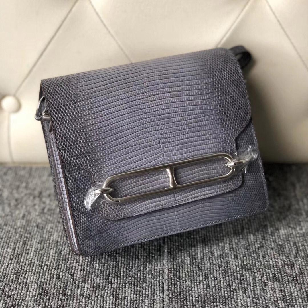 香港新界愛馬仕豬鼻子包包價格 Hermes Roulis 19cm Lizard 8F Etain 錫器灰
