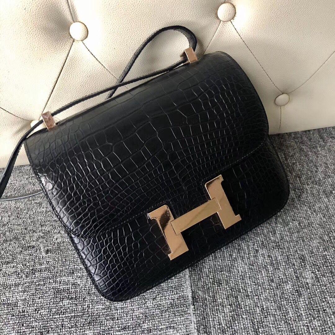 香港觀塘區 東區 愛馬仕包包官網 Hermes Constance 24cm CK89黑色 Noir 玫瑰金扣
