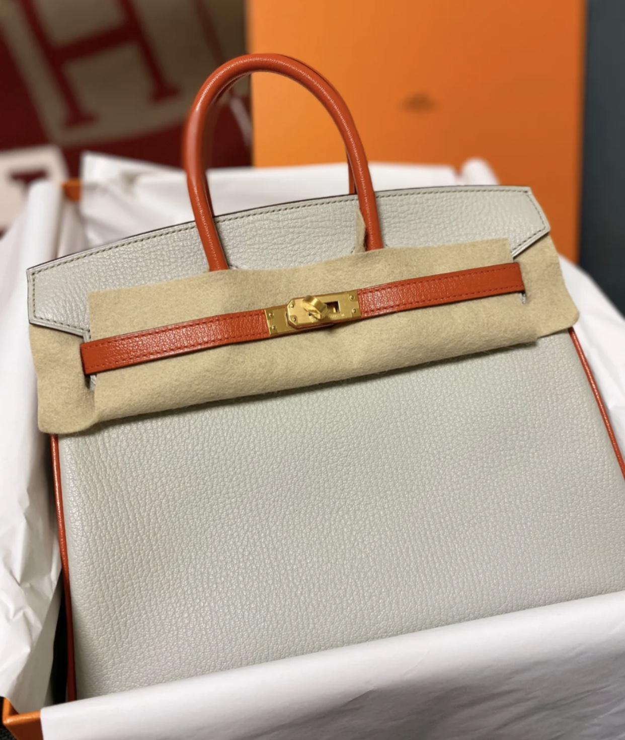 Hermes Birkin 25cm Hss 山羊皮 4Z海鷗灰 Girls Mouette 拼 9J Feu 火焰橙
