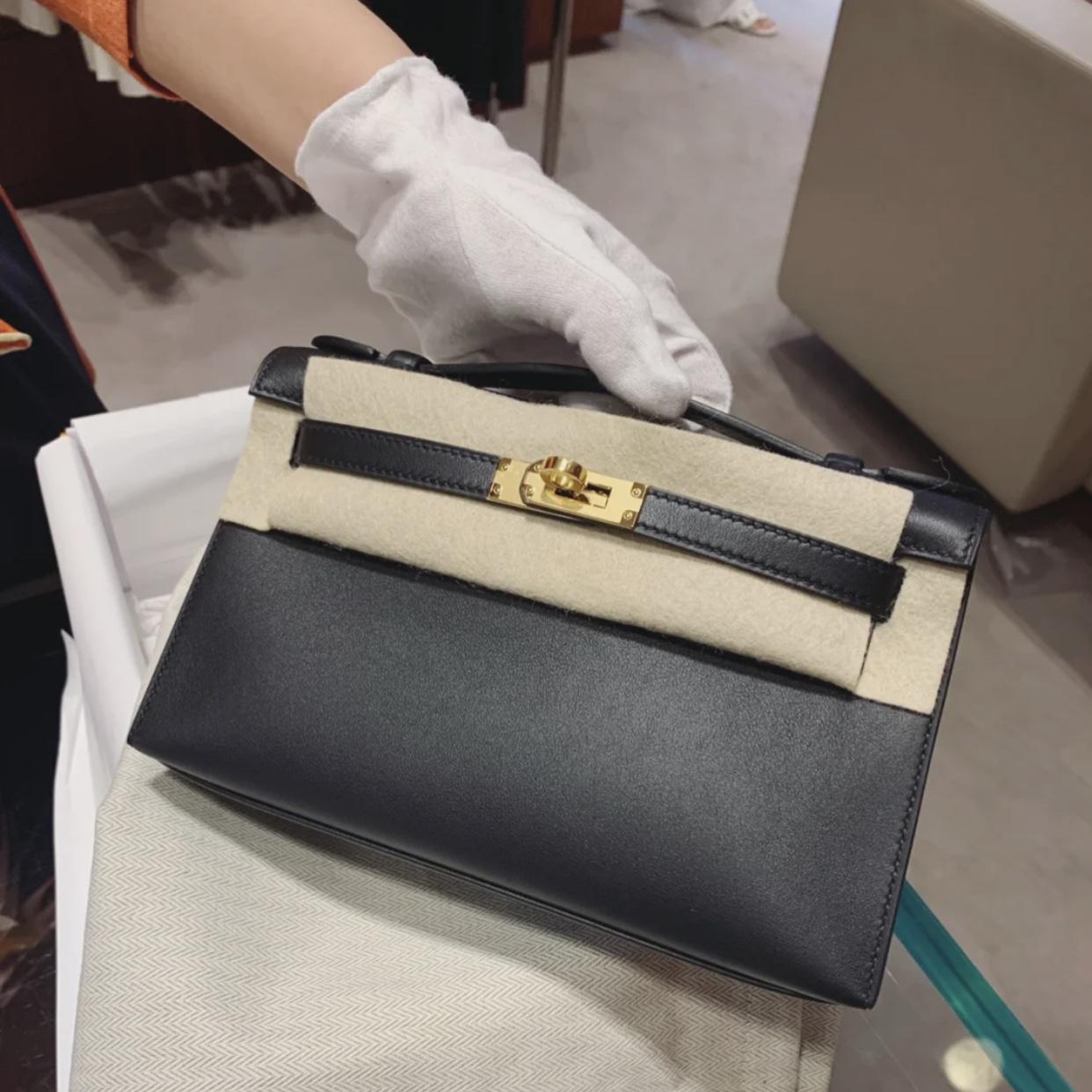 Taiwan Hermes Mini Kelly Pochette CK89 Noir Epsom VS Swift calfskin
