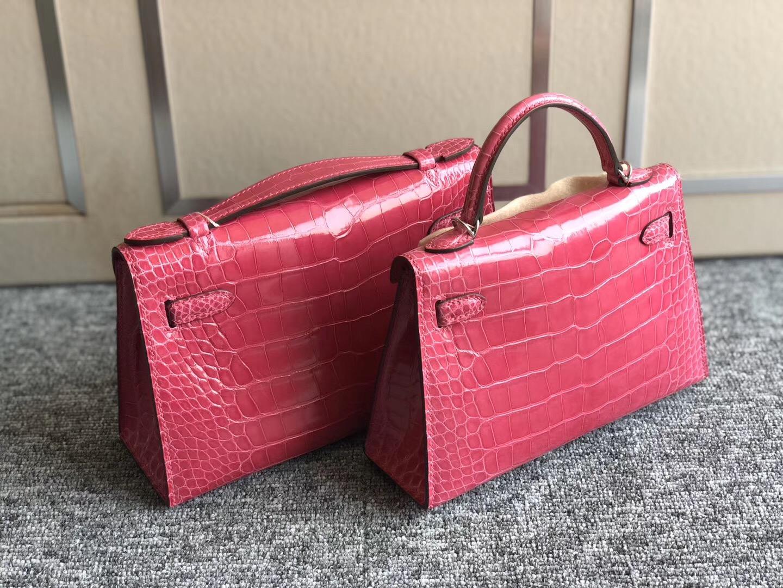 愛馬仕迷妳kelly二代和壹代大小 對比圖片 Hermes minikelly 5J 桃紅色 Fuschia Pink