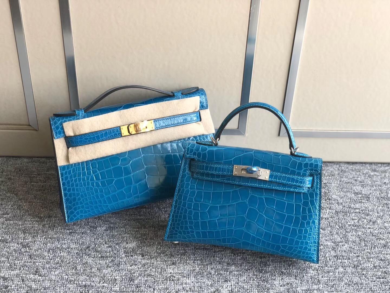 Hermes Mini Kelly Pochette /mini Kelly2 尺寸大小對比圖片 7W伊茲密爾藍