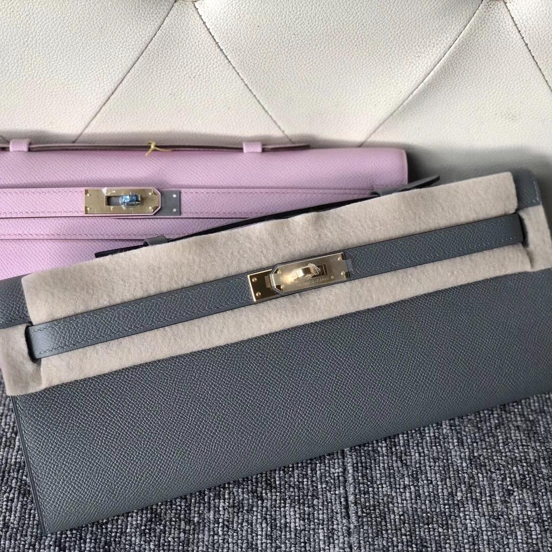 Hermes Kelly Cut Pochette 31cm M8瀝青灰 CC63杏綠色 X9锦葵紫
