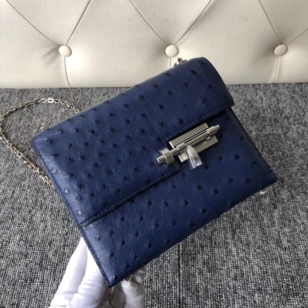 香港淺水灣爱马仕手枪包 Hermes Verrou 17.5cm CK73寶石藍 Blue Sapphire