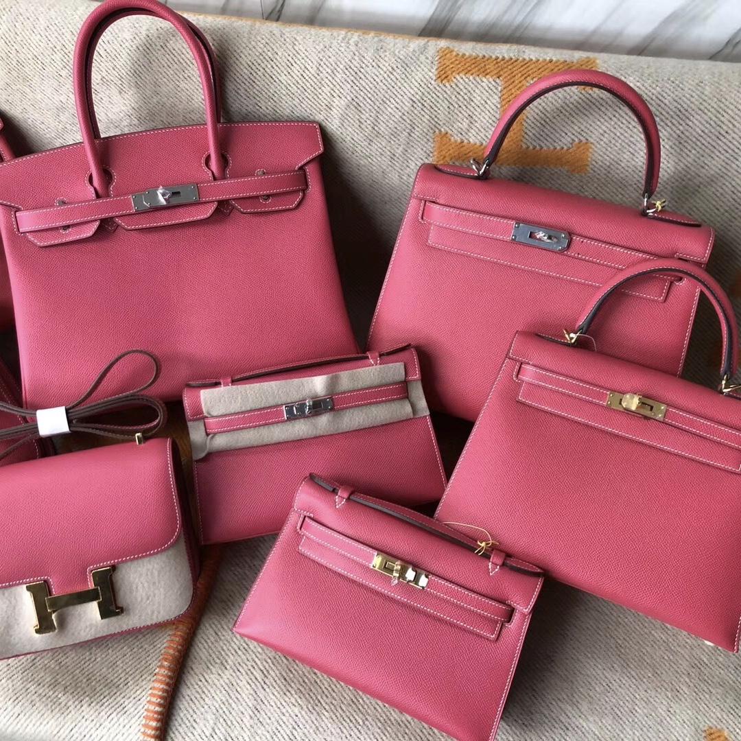 Hermes Birkin Kelly Mini Kelly Pochette Constance E5桃紅色 Rose Tyrien