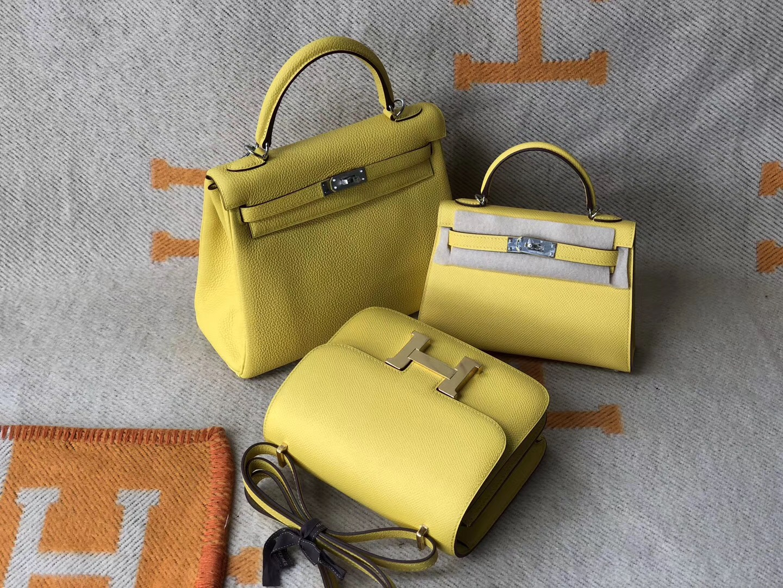 Macao Hermes Kelly mini 二代 /Constance 19cm 9O那不勒斯黃 jaune de naples