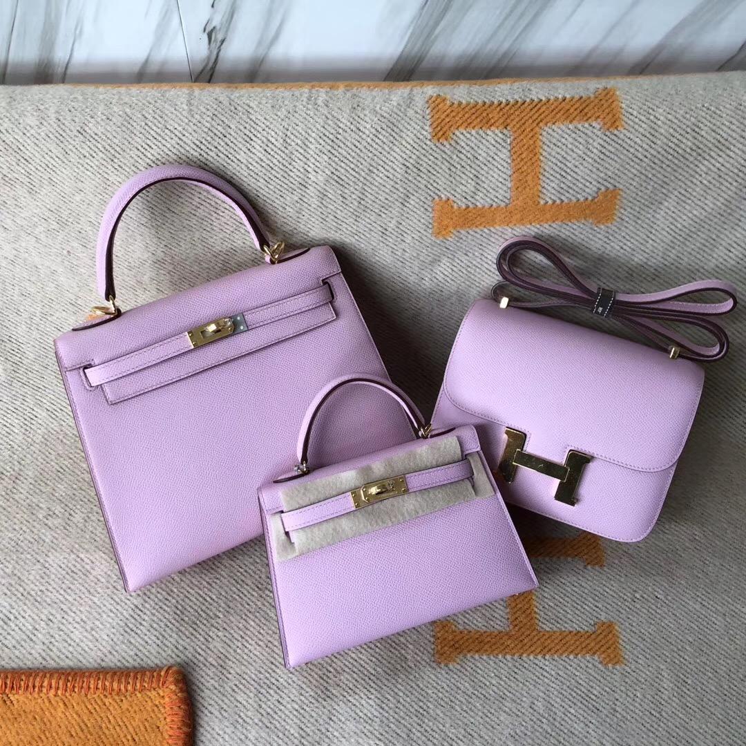 Macao Hermes Constance 19cm KellyMini 2代 X9錦葵紫 mauve sylvestre