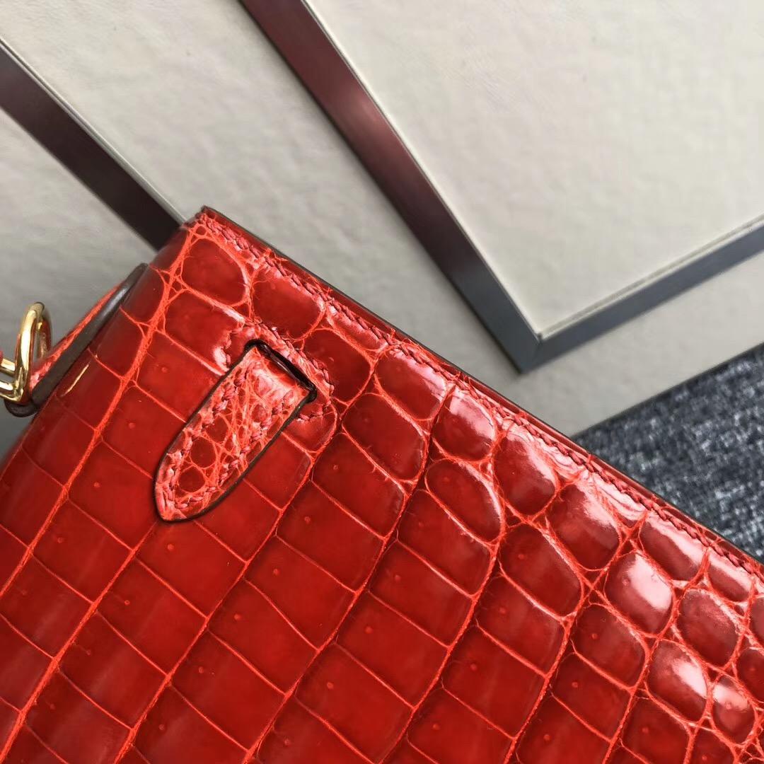 España Spain Hermes Kelly 25cm ck95法拉利紅 Braise 尼羅供珠鱷