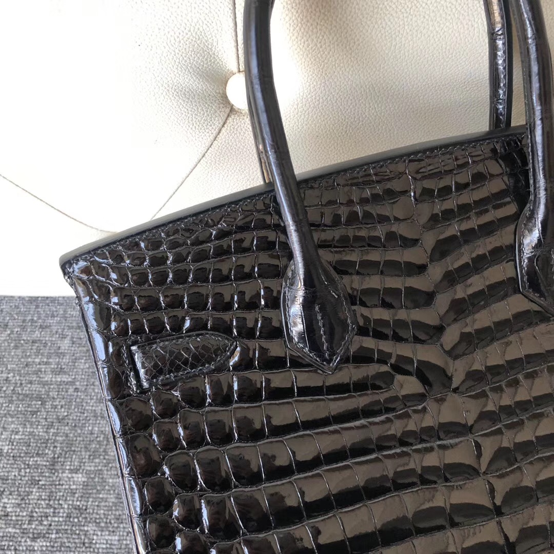 臺灣高雄市愛馬仕鉑金包 Hermes Birkin 30cm 尼羅供珠鱷魚 ck89黑色 noir