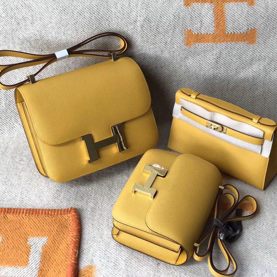 Macao Hermes Constance 19cm 24cm Epsom 9D琥珀黃 Amber