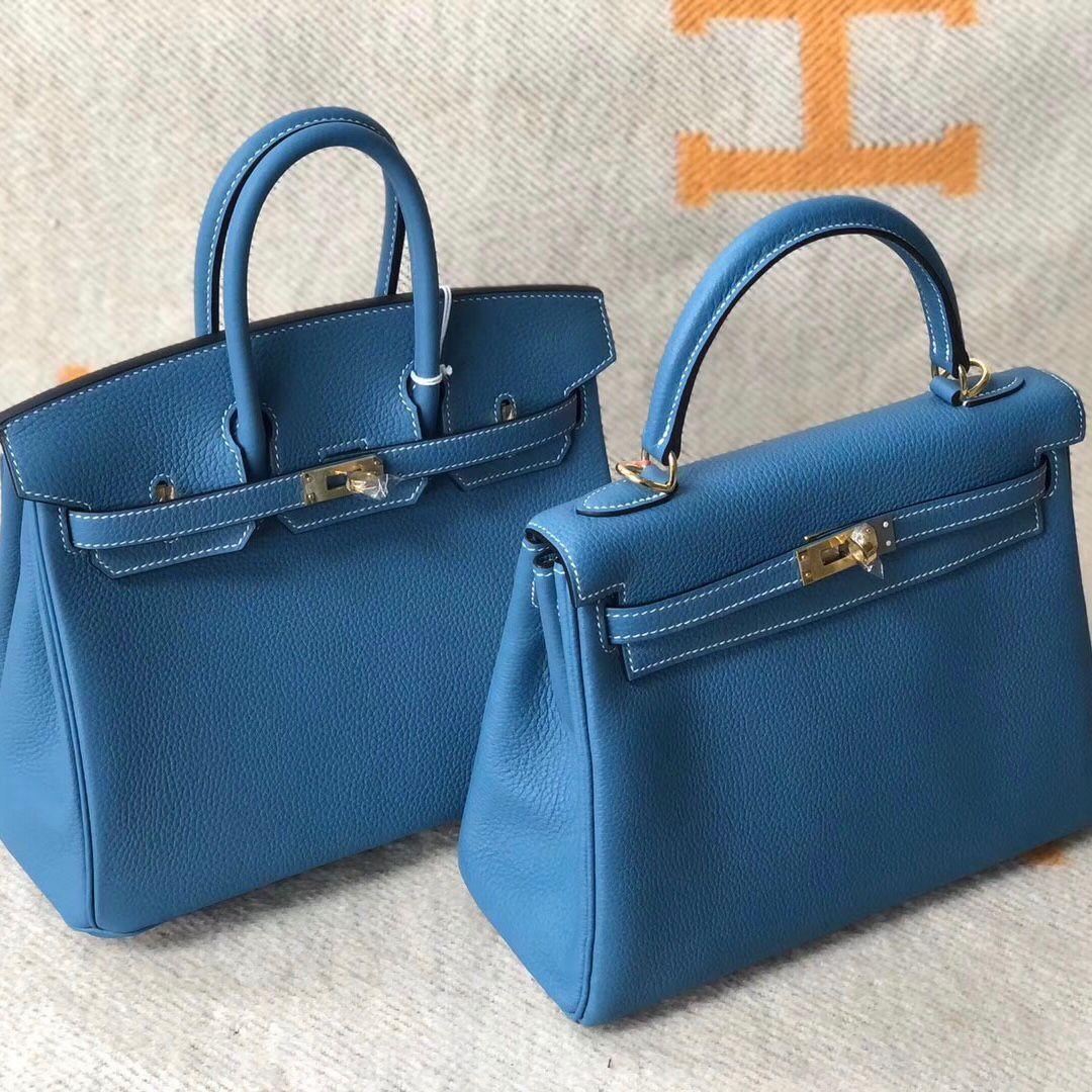 愛馬仕鉑金包配什麼衣服好看 Birkin25 30cm CK75牛仔藍 Blue Jean