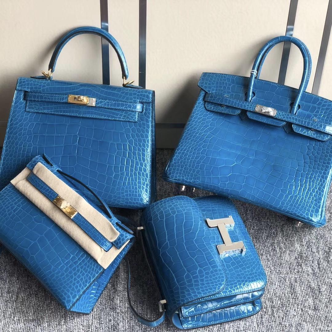 愛馬仕minikelly pochette 壹代價格与Constance19cm 7W伊茲密爾藍 Blue Izmir