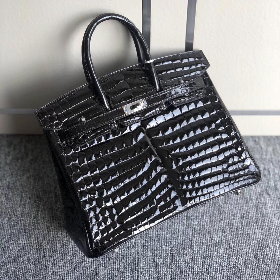 香港西貢區鉑金包 Hermes Birkin 25cm 尼羅供珠鱷魚CK89 Noir 黑色