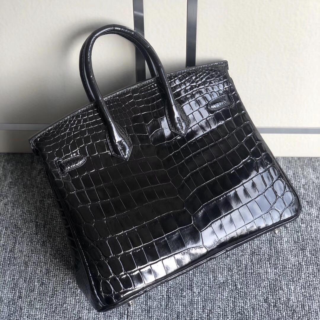 Hermes Birkin 25cm 亮面兩點 尼羅鱷魚 Shiny Nilo Crocodile CK89 Noir 黑色