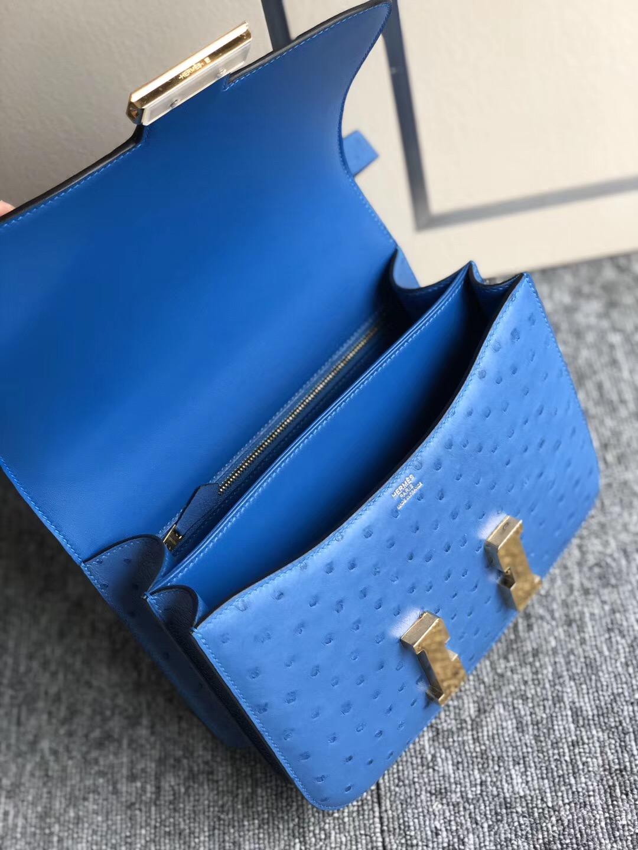 香港新界 九龍半島 愛馬仕Hermes Constance 24cm 7Q希臘藍 Blue Mykonos