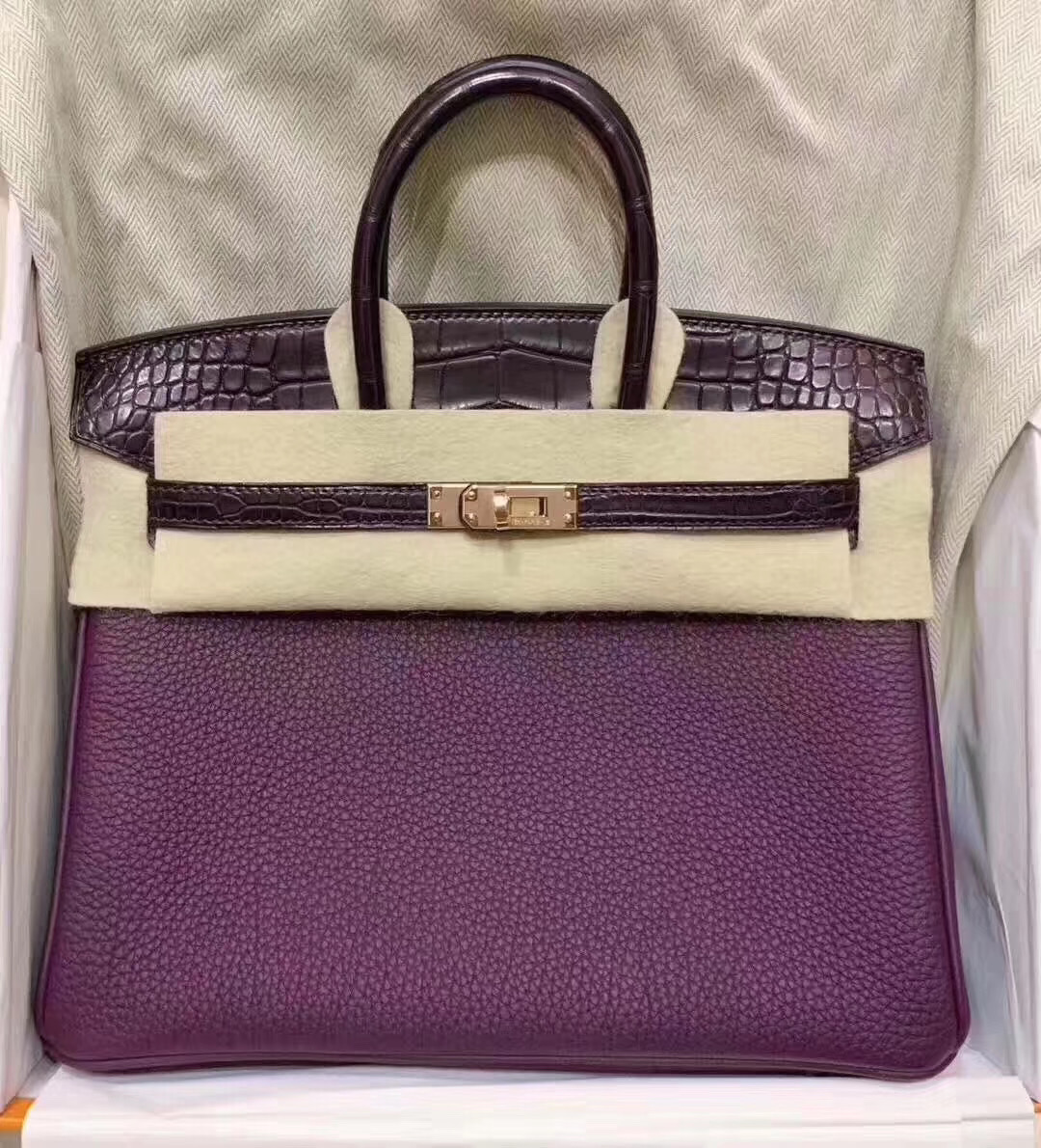 Hermès Birkin Touch 25cm CK59 葡萄紫 Raisin拼3W Prunoir 美洲鱷